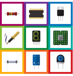 Flat icon electronics set of resistor display vector