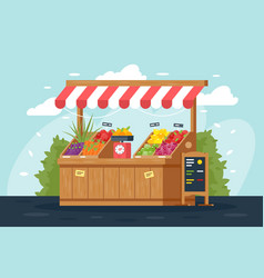 Flat street vegetable and fruit stall with menu vector