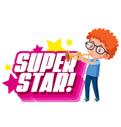 Font design for word superstar with boy playing vector