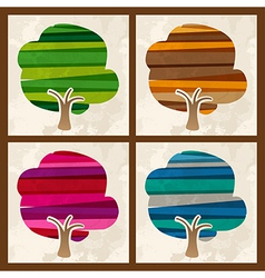 Four season multicolor tree set vector image