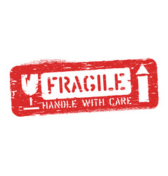 fragile this way up isolated grunge seal for vector image