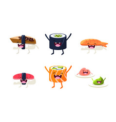 funny sushi and roll characters set asian food vector image