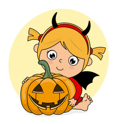 Girl dressed up as a demon with a pumpkin vector