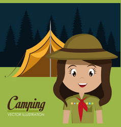 Girl scout in the camping zone vector