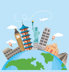 Global map with international place destination vector
