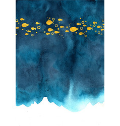 Gold color school fish swimming on navy blue vector