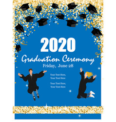 Graduation class ceremony 2020 greeting cards vector