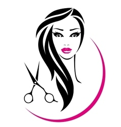 hair salon sign with pretty woman and scissors vector image