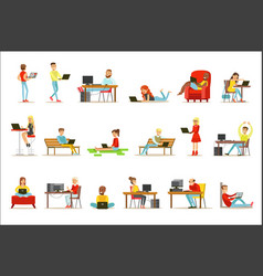 happy people spending their time using computer vector image