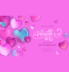 Happy valentines day sale flyer poster with hearts vector