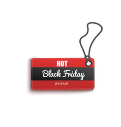 hot black friday sales discount red tag realistic vector image
