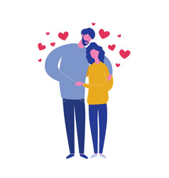 Hugging boyfriend and girlfriend with hearts vector