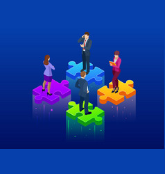 isometric collaboration and teamwork concept vector image