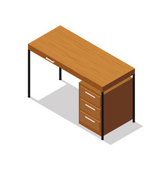 Isometric office table on white background vector