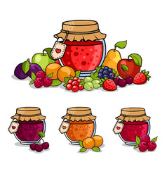 Jar of jam surrounded by fruits and berries vector