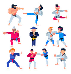 Karate martial karate-do character training vector