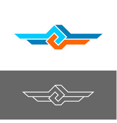 Knot style logo with two wings three color vector