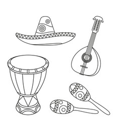 Line art black and white mexican music set vector
