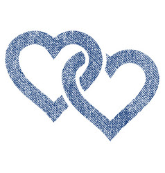 Linked hearts fabric textured icon vector