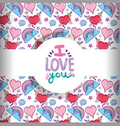 love and hearts pattern background vector image