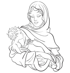 Madonna and child jesus coloring page vector