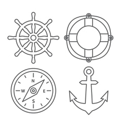 Marine Line Icons vector image