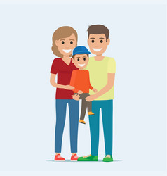 Married couple in casual cloth and son on hands vector