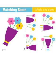 Matching game educational children activity with vector