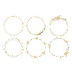 minimal golden rose doodle wreath frame vector image