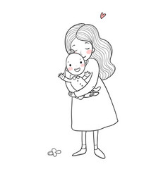mom and baby cute cartoon woman and baby vector image