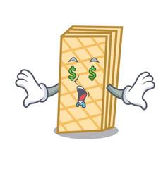 Money eye waffle mascot cartoon style vector