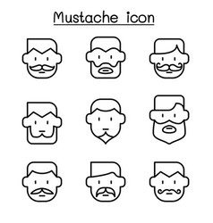 mustache icons set in thin line style vector image