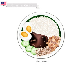 Nasi Lemak or Malaysian Coconut Milk Rice vector