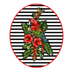 parrot ara embroidery patch with tropical flowers vector image