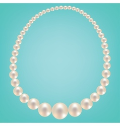 Pearl necklace on turquoise background vector image