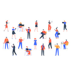 people with devices men and women use laptop vector image