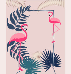 pink flamingo greeting card with leaves and vector image