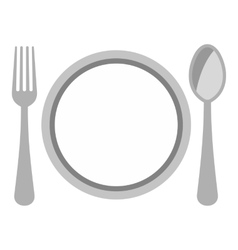 Plate spoon and fork icon flat style vector
