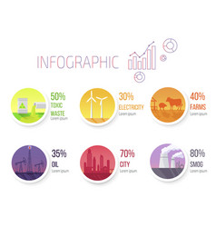 Pollution statistic and round images infographic vector