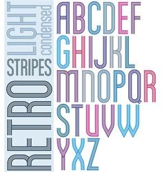 Poster retro light striped font bright condensed vector