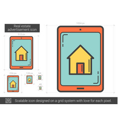 Real estate advertisement line icon vector