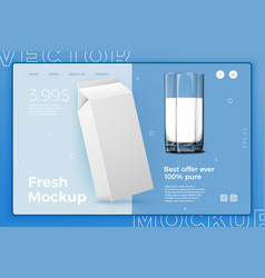 realistic 3d white milk pack with glass vector image