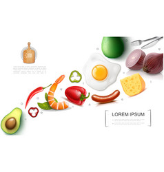Realistic food colorful concept vector
