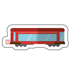 red train rail passenger transport shadow vector image