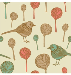 retro birds pattern vector image