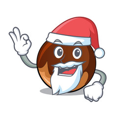 Santa chocolate donut mascot cartoon vector