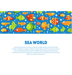 sea world banner template with cute colorful vector image