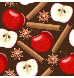 Seamless apple and cinnamon vector