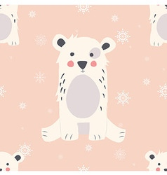 Seamless Merry Christmas pattern with polar bear vector image