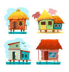 set bungalow house standing on water vector image